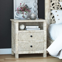 Calistoga Weathered Handcarved Solid Wood White Nightstand With Drawer