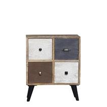 Binghamton Rustic Reclaimed Wood Nightstand with 4 Drawers