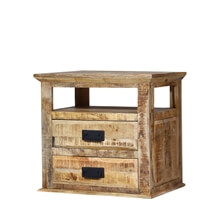 Schenectady Rustic Reclaimed Wood End Table with 2 Drawers