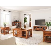 San Francisco Rustic Solid Wood & Iron Grill 5 Piece Living Room Set