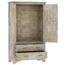 Gothic Rustic Mango Wood Large White Armoire Wardrobe With Drawers