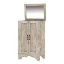 Gothic Rustic Winter White Mango Wood Jewelry Armoire