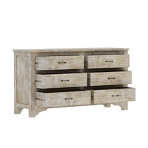 Gothic Rustic Mango Wood White Dresser With 6 Drawers