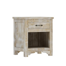 Gothic Rustic Winter White Mango Wood Nightstand With Drawer
