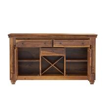 Oroville Rustic Solid Wood 3 Drawer Wine Rack Large Bar Sideboard