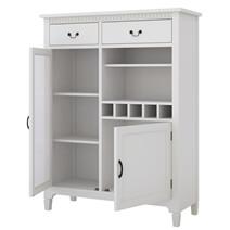 Anderra Mahogany Wood White 8 Piece Dining Room Set