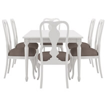 Anderra Solid Mahogany Wood White Dining Table & Chair Set