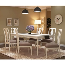 Anderra Hand Carved Solid Mahogany Wood Large White Dining Table