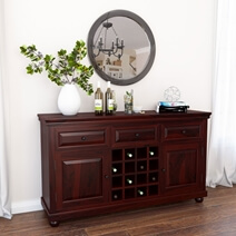 Colonial American Solid Wood 16 Bottle Bar Cabinet with Wine Storage