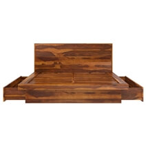 Brocton Rustic Solid Wood Low Height Storage Platform Bed