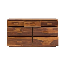Brocton Rustic Solid Wood Modern Bedroom Dresser with 7 Drawers