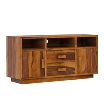 Brocton Rustic Solid Wood TV Media Stand With Drawers & Cabinets