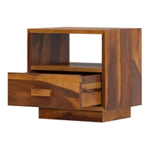 Brocton Rustic Solid Wood End Table With Single Drawer