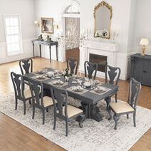 San Marino Large Solid Mahogany Wood Dining Table & Chair Set