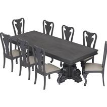 San Marino Large Solid Mahogany Wood Dining Table & Chair Set