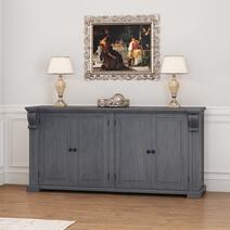 San Marino Solid Mahogany Wood Large Grey Sideboard Cabinet