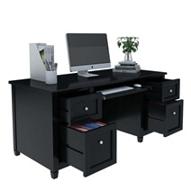 Aulander Solid Wood Black Desk with File Cabinet Set