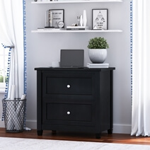 Aulander Solid Wood Black File Cabinet with 2 Drawers
