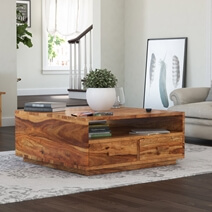 Delaware Rustic Solid Wood Square Coffee Table with 4 Drawers
