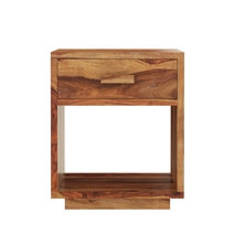 Delaware Rustic Solid Wood End Table With Drawer And Open Shelf