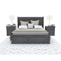 Kelowna Solid Mahogany Wood 4 Piece Gray Bedroom Set
