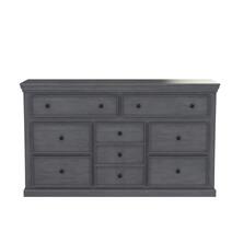 Kelowna Solid Mahogany Wood Gray Dresser with 9 Drawers