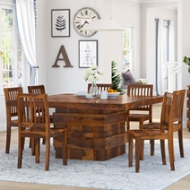 Modern Simplicity Rustic Wood Dining Room Table and Chair Set