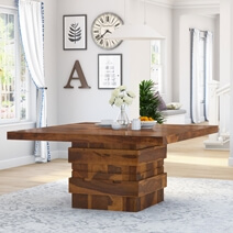 Modern Simplicity Rustic Wood Square Dining Room Table with Storage