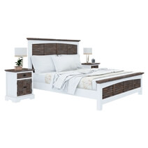 Danville Teak and Mahogany Wood Modern 5 Piece Bedroom Set