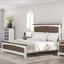Danville Teak and Mahogany Wood Platform Bed Frame With Headboard