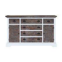 Danville Teak and Mahogany Wood Bedroom Dresser w 6 Drawer And Cabinet