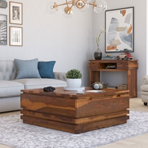 Modern Simplicity Rustic Solid Wood Coffee Table with 2 Drawers