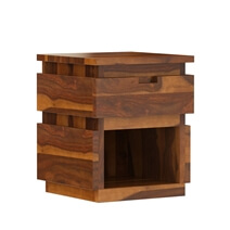 Modern Simplicity Rustic Solid Wood End Table with Drawer