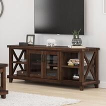 Antwerp Solid Wood Rustic TV Media Stand with Glass Door Cabinet