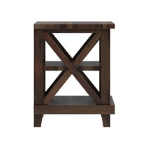 Antwerp 3 Tier Rustic Solid Wood End Table
