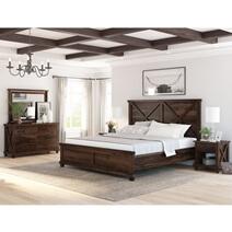 Antwerp Rustic Solid Wood 4 Piece Bedroom Set