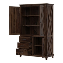 Antwerp Rustic Farmhouse Solid Wood Large Clothing Armoire Wardrobe