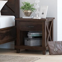 Antwerp 2 Tier Rustic Solid Wood Nightstand with Drawer