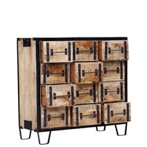 Buckhannon Rustic Iron And Reclaimed Wood Chest of 12 Drawers