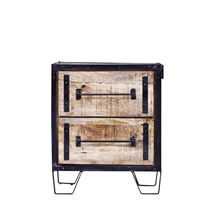 Buckhannon Rustic Reclaimed Wood Industrial Nightstand With 2 Drawers