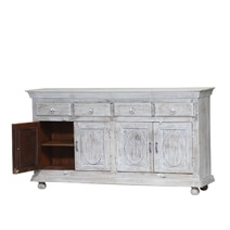 Charleston Reclaimed Wood Distressed Sideboard Buffet With 4 Drawers