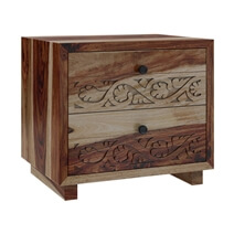 Dallas Ranch Modern Rustic Solid Wood Nightstand With 2 Drawers
