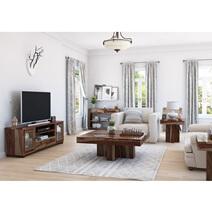 Dallas Ranch Rustic Solid Wood 5 Piece Living Room Set