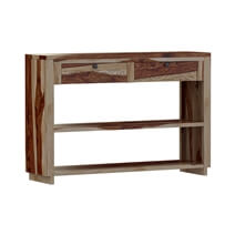 Dallas Ranch Rustic Solid Wood Entryway Hall 2 Drawer Console Table