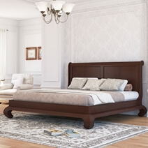 Oraibi Transitional Mahogany Wood Curved Foot Platform Bed With Headboard