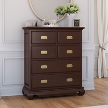 Oraibi Mahogany Wood Bedroom Tall Dresser With 6 Drawers