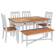 Ruston Two Tone Mahogany Wood 7 Piece Dining Room Collection
