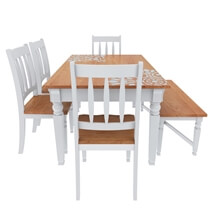 Ruston Two Tone Mahogany Wood Dining Table and Chairs Set With Bench