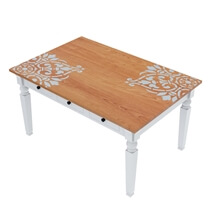 Ruston Two Tone Mahogany Wood Storage Dining Table with Stencil Motif