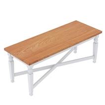 Ruston Two Tone Mahogany Wood Dining Bench With Cross Base